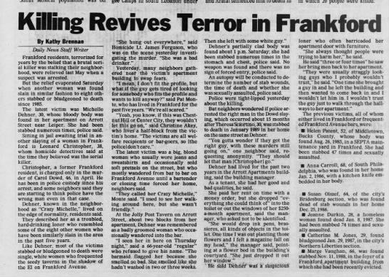 Killer Revives Terror in Frankford